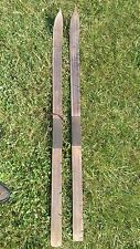 """Antique / Old / Vintage M. A. Strand Wooden snow skis 58.5"""" long Made in 1930's"""