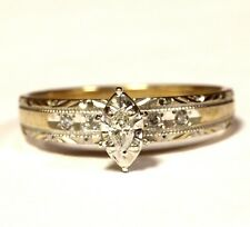 10k yellow white gold .13ct marquise diamond engagement ring 2.4g vintage