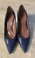 Jean Michel Cazabat Navy Blue Patent Leather Stiletto Heel Pumps Size 38 US 7.5