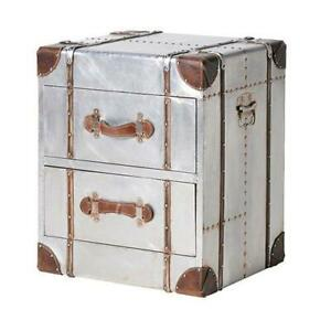 Industrial Vintage Chrome Metal & Brown Leather Trunk Bedside Table w/ Drawers