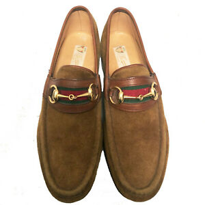 $850 Vintage GUCCI Iconic Tobacco Suede Horsebit Loafers - 8  U.S.