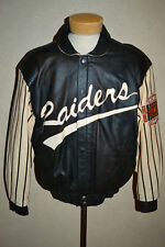 Vintage 1990's Raiders NFL Jeff Hamilton Reversible Leather/Satin Jacket L Vegas