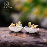 Handmade Solid 925 Silver Jewelry Butterfly Flower Leaf Stud Earrings for Women