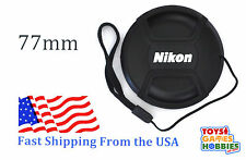 77mm LC-77 Center Snap on Lens cap for NIKON + Leash Directly attached to cap