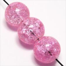 Lot de 10 Perles Craquelées en verre 14mm Rose
