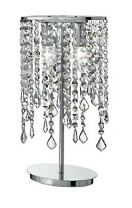 Bedside Lamp Lumetto Modern Chrome Metal And Crystal Clear