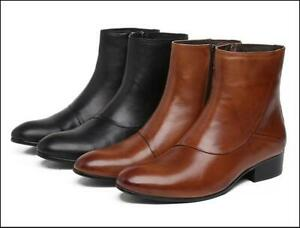 Men's Cowboy Ankle Boots-Designer Genuine Leather Round Toe  Shoes Size 6-10.5