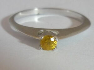 Really Stunning Unusual Yellow Sapphire Solitaire 9k White Gold Ring Size N 1/2