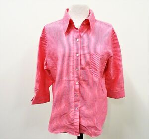 Chico's Women's Pink Striped Button Down Blouse Size 3