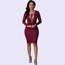 New Women Vintage Bandage Long Sleeve Deep V Neck Club Body con Evening Dress