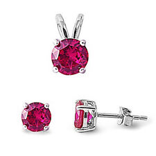 Round Ruby .925 Sterling Silver Pendant & Earrings Set