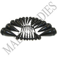"""V031 Acrylic Black Stretchers Tapers Expanders Plugs 14G to 1"""" 25mm 3 pairs Kit"""
