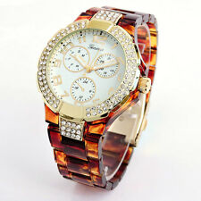 Tortoise Gold Geneva 3D Crystal Bezel Boyfriend Style Women's Watch