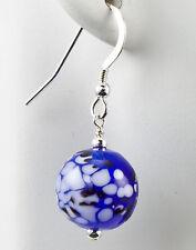 Cobalt Blue & White Lampwork Glass Earrings Handmade Dangle .925 Sterling Silver