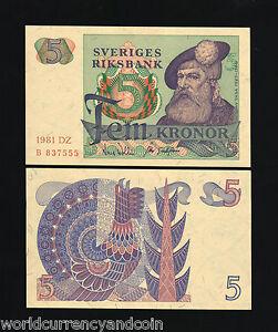 SWEDEN 5 KRONER P51 1978 OR 1981 GUSTAF VASA ROOSTER UNC MONEY BILL BANK NOTE
