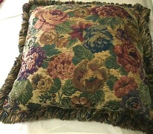 """Decorative Pillow Cushion Rose Floral Multicolor Fabric with Trim Fringe 16""""x16"""""""