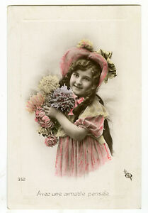 c 1909 Vintage Children Child SMILING LITTLE GIRL tinted photo postcard