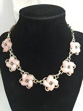 Vintage Thermoset Rhinestone Necklace Light Pink Goldtone Adjustable