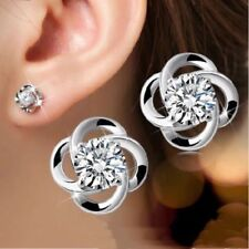 Womens Small Round Earrings Flower Studs 925 Sterling Silver Crystal Jewellery