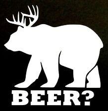 BEER? DECAL BEAR DEAR HUNTING RIFLE CAR SUV TRUCK CHEVY FORD HONDA VW DODGE JDM