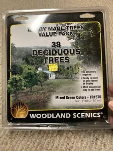 """Woodland Scenics TR1570 Ready Made Deciduous Trees 3/4 """"- 2"""" Value Pack (38) pcs"""