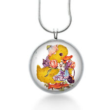 Kitsch yellow duck with flowers holding a purse whimsical silver plated necklace