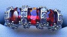 Beautiful Sterling Silver Vivid Red Ruby Trilogy & CZ Cluster Ring, Brand new