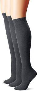 Hue Women's 186721 Flat Knit Knee Graphite Heather Sock Size One Size