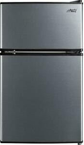 Two Door Compact Refrigerator with Freezer Stainless Steel Capacity 3.2 Cu ft