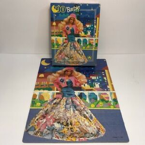 Vintage 1991 Barbie Night Out Floral Dress 100 Piece Jigsaw Puzzle Golden Mattel