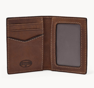NWT Fossil Ethan Card Case Leather Brown Wallet SML1069201 Minimalist Wallet