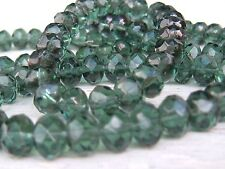 CZECH Dark Olive transparent FACETED RONDELLE GLASS BEADS 8x6mm 100 beads