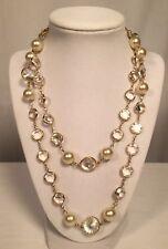 "Vintage Swarovski Necklace Crystal Rivoli Faceted Clear Stones Pearls 38"" EUC"