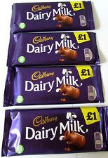 Cadbury DAIRY MILK CHOCOLATE 4 x 95g Bars. British made.