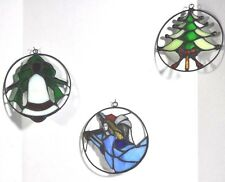 Set Of 3 Tiffany-Style Christmas Suncatchers/Ornaments Bell-Angel-Christmas-Tree