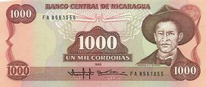 Nicaragua 1000 Cordobas 1985 P-156A UNC