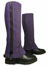 Riders Trend Diamante Children?s Girls Horse Pony Stable Yard Suede Half Chaps