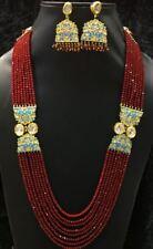 Babosa Sakhi Long Kundan Necklace Ruby Red Beads Indian Meenakari Jewelry Nr699