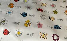 """Butterflies, Lady bugs, Snails and Flowers.100% Cotton Fabric 61''/ 62"""" wide"""