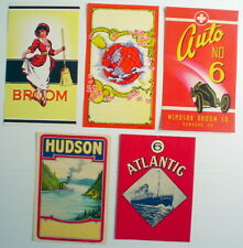 Lot Of 5 Old Broom Labels