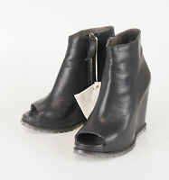 New BRUNELLO CUCINELLI Black Leather Open Toe Booties Boots Shoes 37/7 $1595
