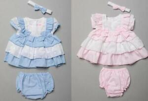 Baby Girls Spanish Romany Tiered Dress & Pants Set Broderie Anglaise Pink & Blue