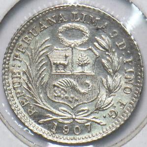 Peru 1907 1/2 Dinero 293809 combine shipping