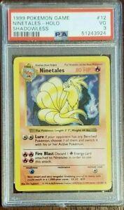 1999 Pokemon Shadowless Ninetales Holo Rare No Damage Error PSA 3 12/102