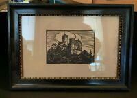 Antique Black on White Castle Print Framed