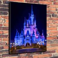 """Cinderella's Castle At Night Disney Printed Canvas Picture A1.30""""x20"""" 30mm Deep"""