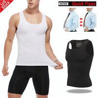 Men Slimming Body Shaper Vest Chest Compression Shirt Abs Abdomen Underwear Tank