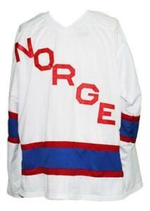 Any Name Number Norway Norge Retro Custom Hockey Jersey White