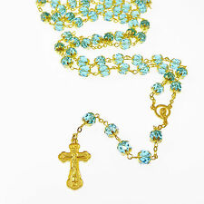 Large bright blue faceted glass rosary beads with gold colour filigree Catholic