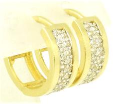 Damen & Teenager Klapp Creolen Ohrringe 585 Gold 13,7 mm Durchmesser 4 mm Breit